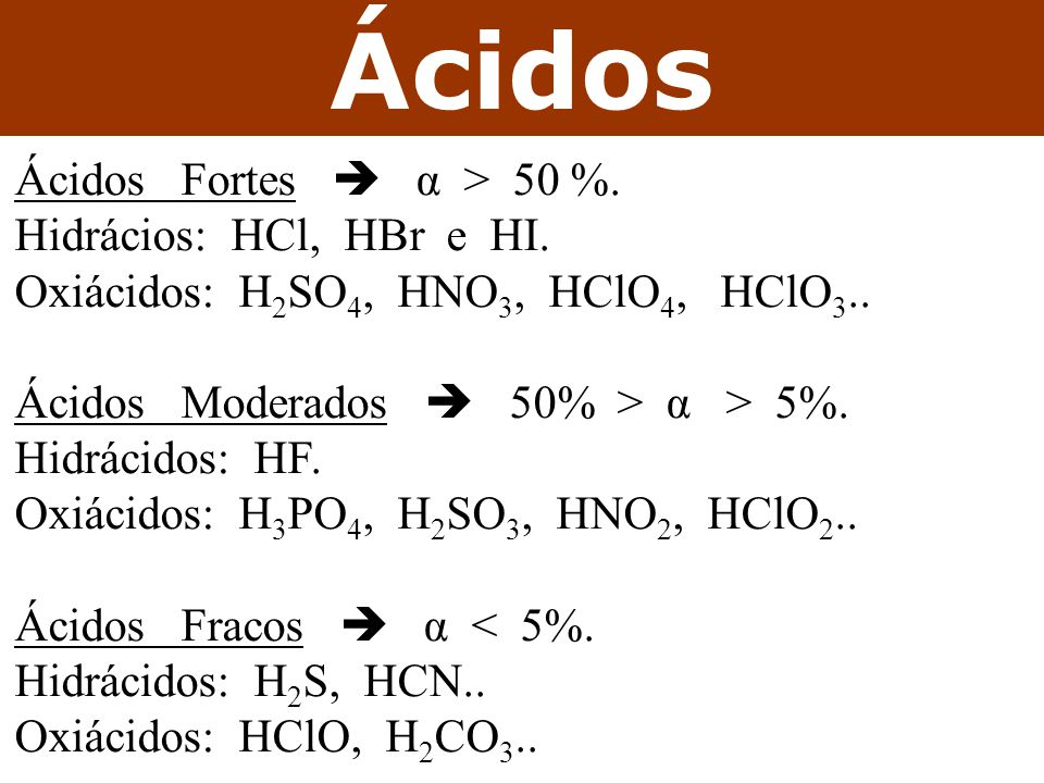 Ácidos Ácidos Fortes  α > 50 %.Hidrácios: HCl, HBr e HI.