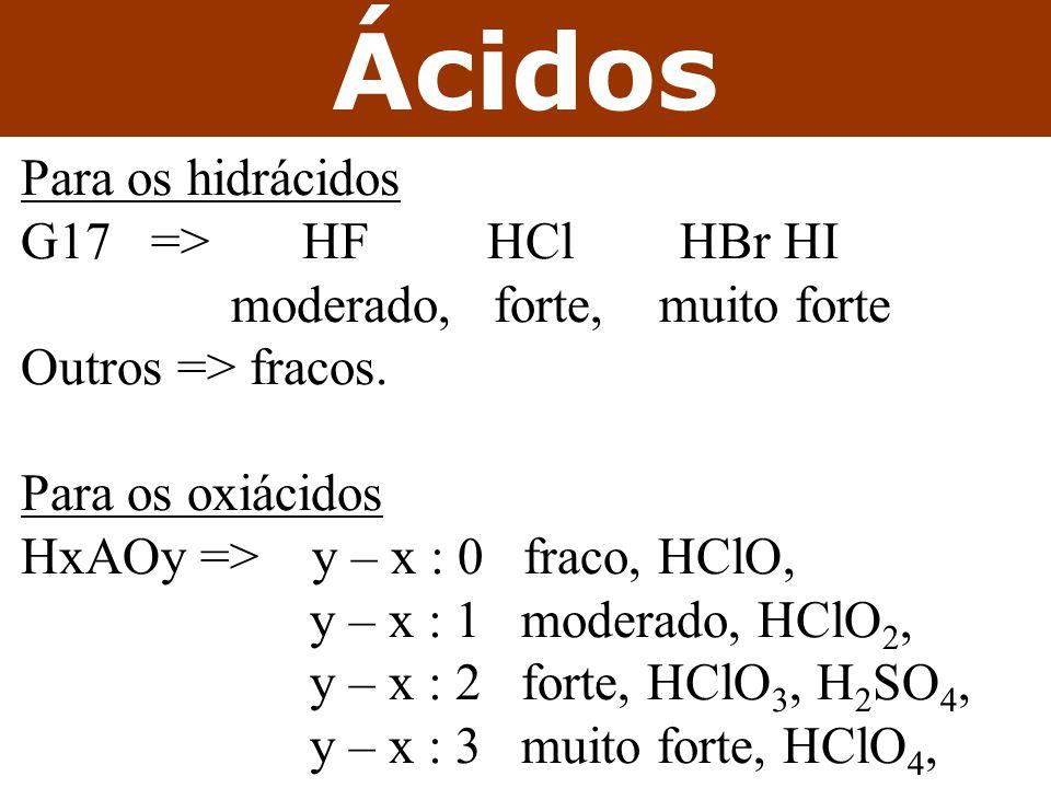 Ácidos Para os hidrácidos G17 => HF HCl HBr HI moderado, forte, muito forte Outros => fracos.