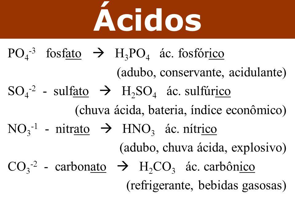 PO 4 -3 fosfato  H 3 PO 4 ác.