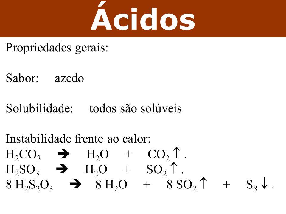 Ácidos Propriedades gerais: Sabor: azedo Solubilidade: todos são solúveis Instabilidade frente ao calor: H 2 CO 3  H 2 O + CO 2 .