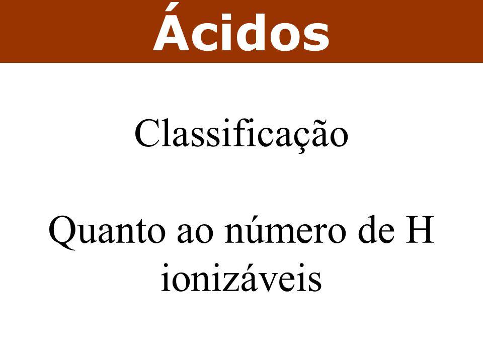 Ácidos Classificação Quanto ao número de H ionizáveis
