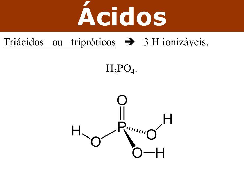 Ácidos Triácidos ou tripróticos  3 H ionizáveis. H 3 PO 4.