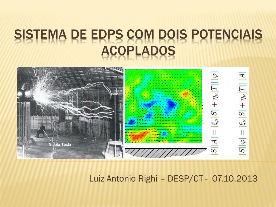  Eletromagnetismo e as EDPs  Tensor de relutividade ou permeabilidade  Forma fraca do método de Elementos Finitos  Proposta de EDP com dois potenciais  Questões para discussão