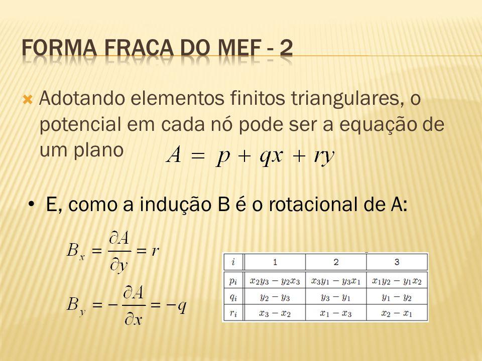  Adotando elementos finitos triangulares, o potencial em cada nó pode ser a equação de um plano • E, como a indução B é o rotacional de A: