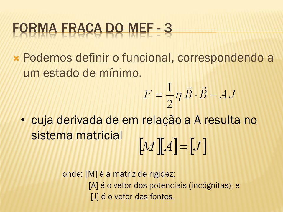  Podemos definir o funcional, correspondendo a um estado de mínimo. • cuja derivada de em relação a A resulta no sistema matricial onde: [M] é a matr