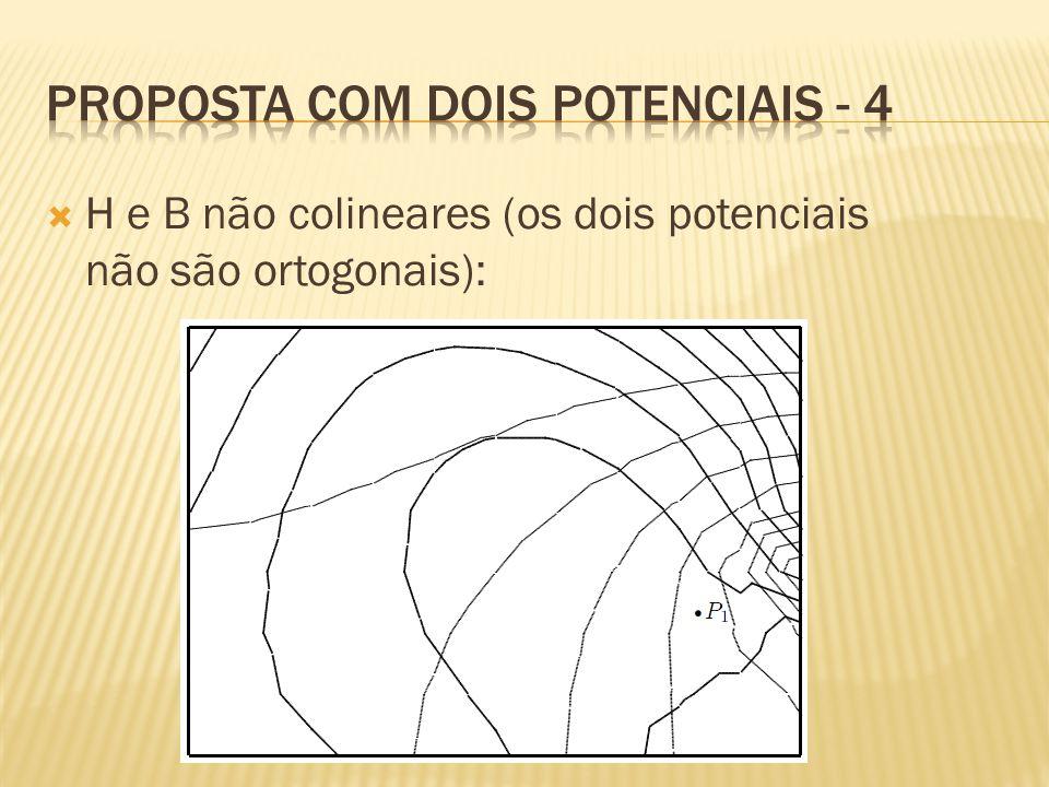  H e B não colineares (os dois potenciais não são ortogonais):