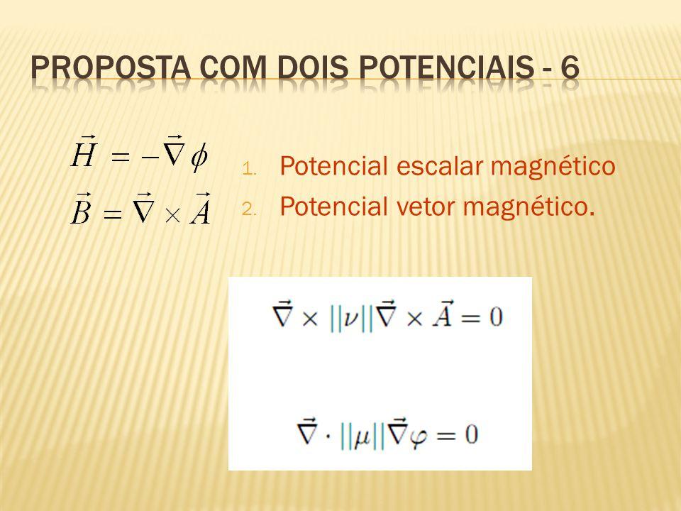 1. Potencial escalar magnético 2. Potencial vetor magnético.