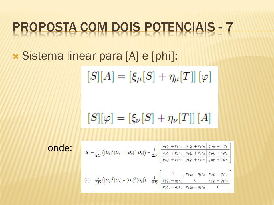  Sistema linear para [A] e [phi]: onde: