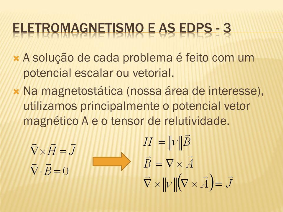 A solução de cada problema é feito com um potencial escalar ou vetorial.  Na magnetostática (nossa área de interesse), utilizamos principalmente o