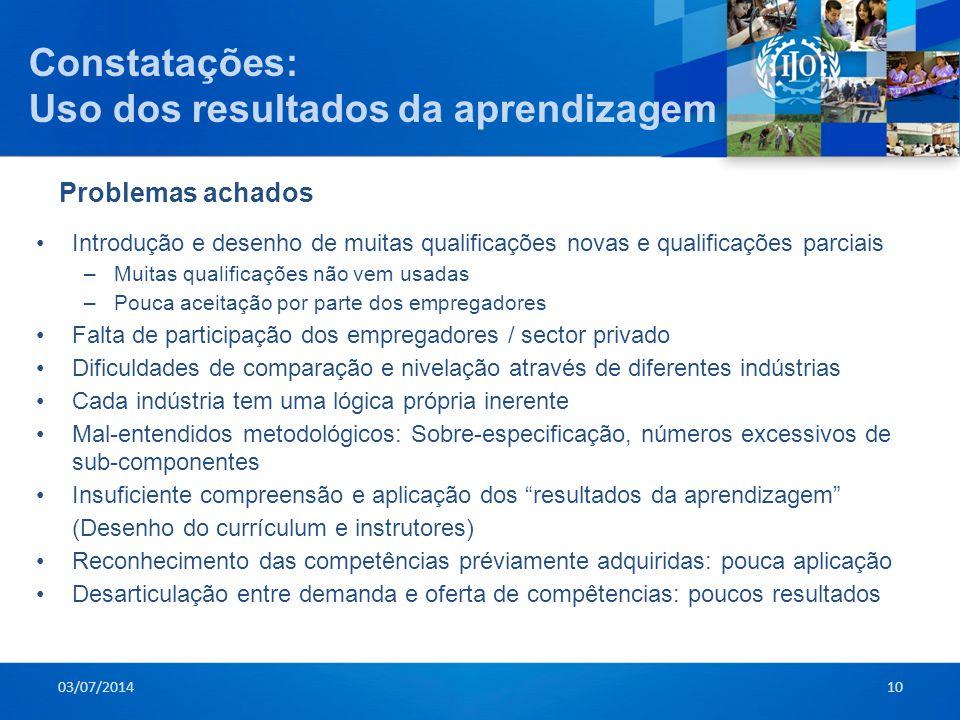 Constatações: Uso dos resultados da aprendizagem 03/07/201410 •Introdução e desenho de muitas qualificações novas e qualificações parciais –Muitas qua