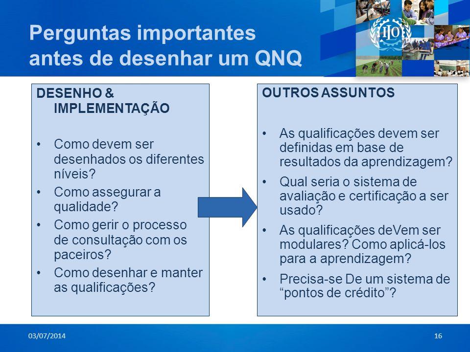 Perguntas importantes antes de desenhar um QNQ DESENHO & IMPLEMENTAÇÃO •Como devem ser desenhados os diferentes níveis? •Como assegurar a qualidade? •