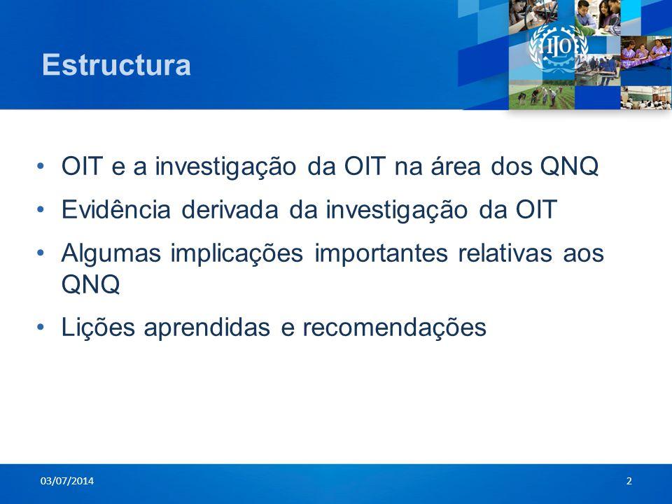Estructura •OIT e a investigação da OIT na área dos QNQ •Evidência derivada da investigação da OIT •Algumas implicações importantes relativas aos QNQ