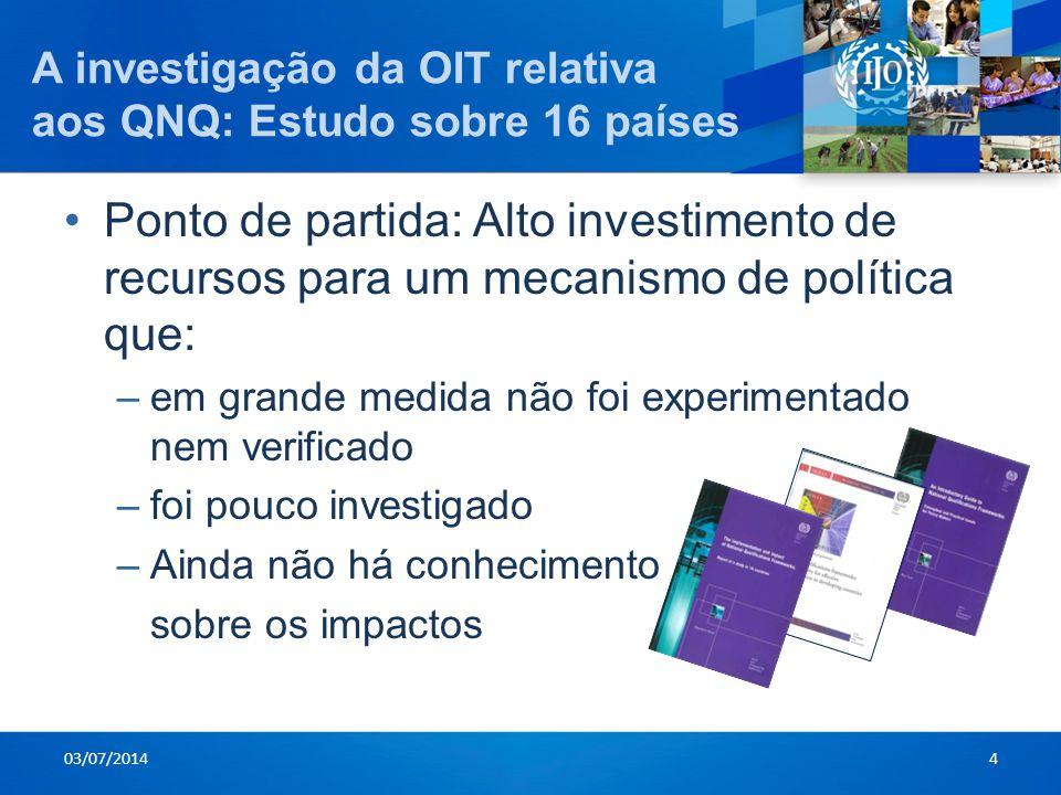 A investigação da OIT relativa aos QNQ: Estudo sobre 16 países •Ponto de partida: Alto investimento de recursos para um mecanismo de política que: –em