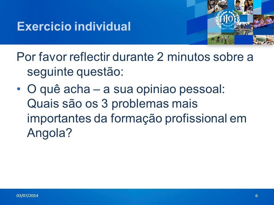 Exercicio individual Por favor reflectir durante 2 minutos sobre a seguinte questão: •O quê acha – a sua opiniao pessoal: Quais são os 3 problemas mai