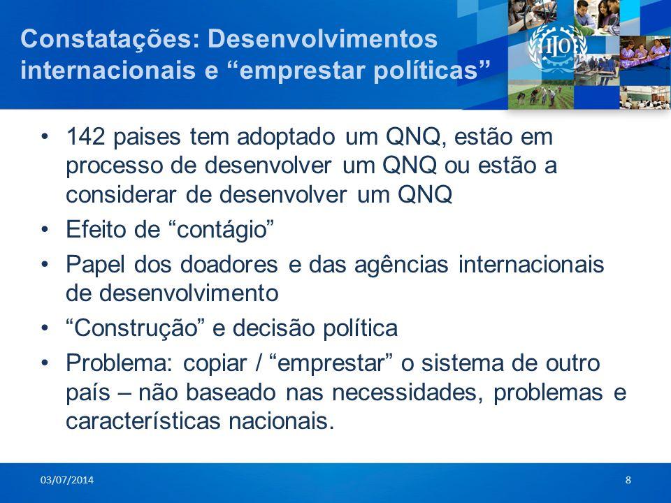 """Constatações: Desenvolvimentos internacionais e """"emprestar políticas"""" •142 paises tem adoptado um QNQ, estão em processo de desenvolver um QNQ ou estã"""