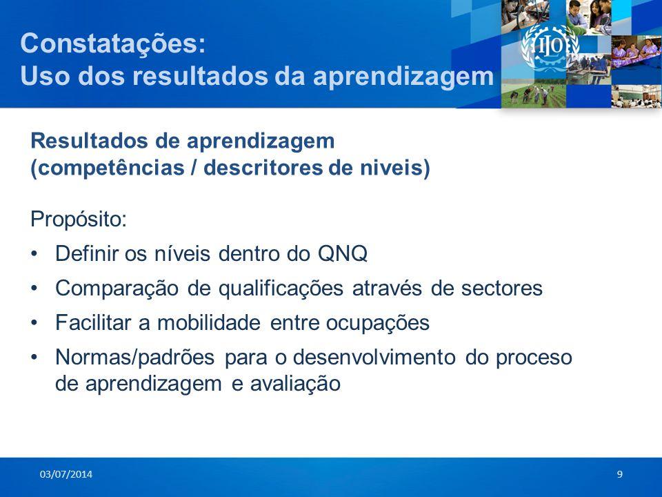 Constatações : Uso dos resultados da aprendizagem Propósito: •Definir os níveis dentro do QNQ •Comparação de qualificações através de sectores •Facili