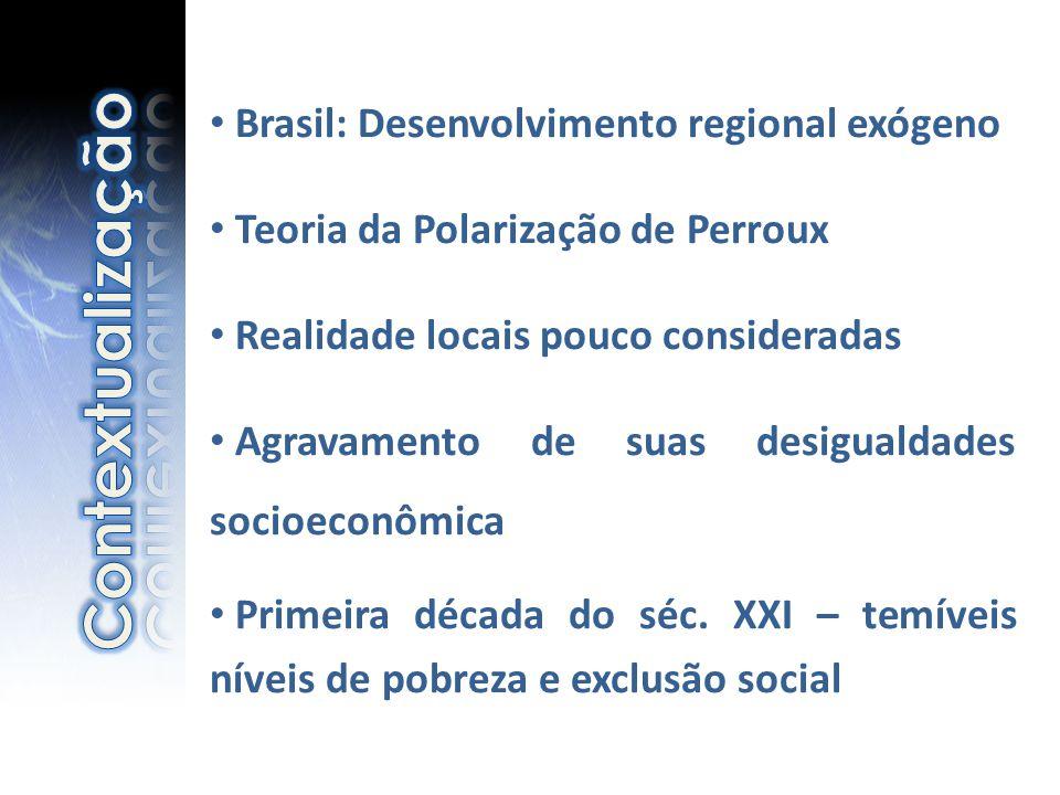 • Brasil: Desenvolvimento regional exógeno • Teoria da Polarização de Perroux • Realidade locais pouco consideradas • Agravamento de suas desigualdade