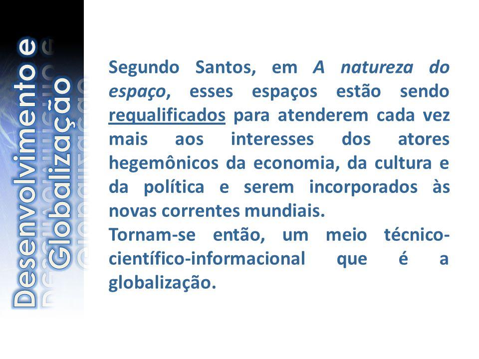 Segundo Santos, em A natureza do espaço, esses espaços estão sendo requalificados para atenderem cada vez mais aos interesses dos atores hegemônicos d