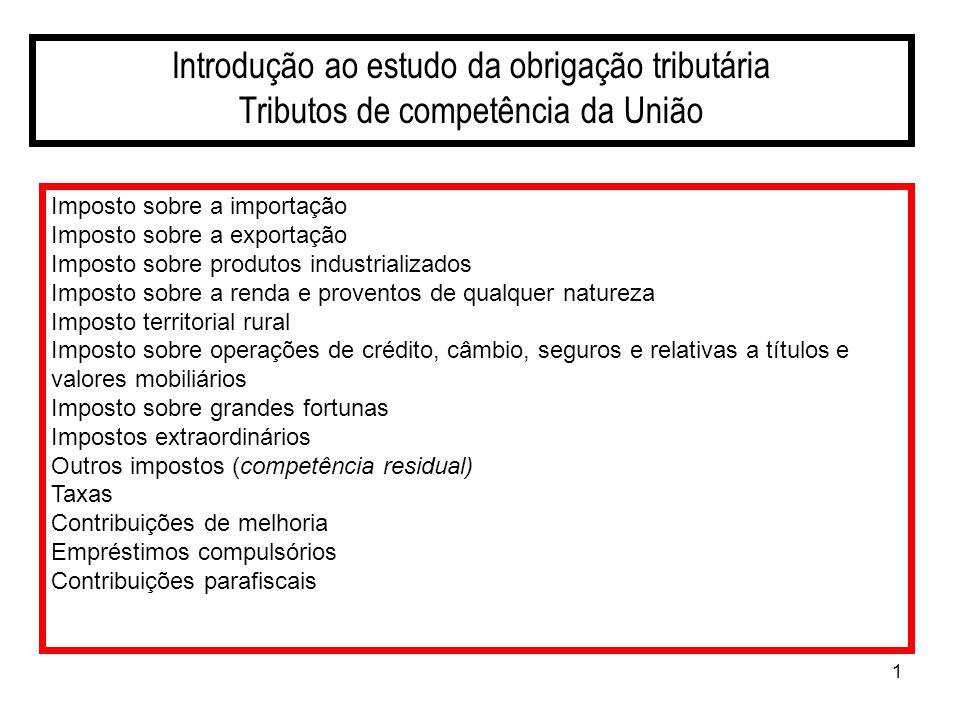 1 Introdução ao estudo da obrigação tributária Tributos de competência da União Imposto sobre a importação Imposto sobre a exportação Imposto sobre pr