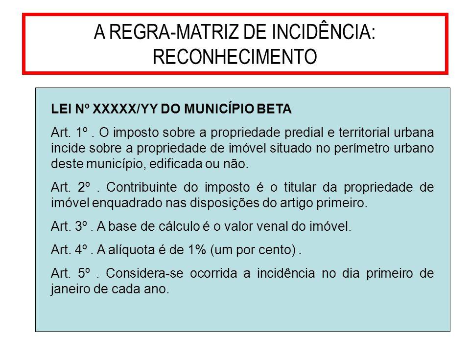 12 A REGRA-MATRIZ DE INCIDÊNCIA: RECONHECIMENTO LEI Nº XXXXX/YY DO MUNICÍPIO BETA Art. 1º. O imposto sobre a propriedade predial e territorial urbana