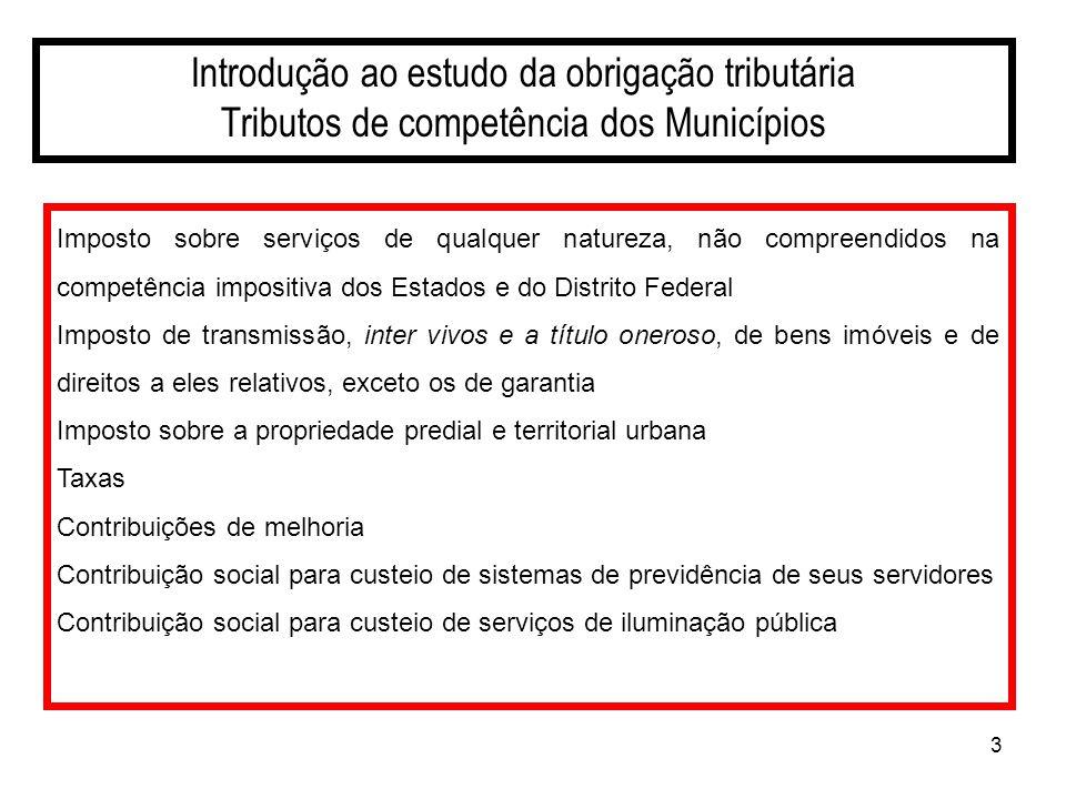 3 Introdução ao estudo da obrigação tributária Tributos de competência dos Municípios Imposto sobre serviços de qualquer natureza, não compreendidos n