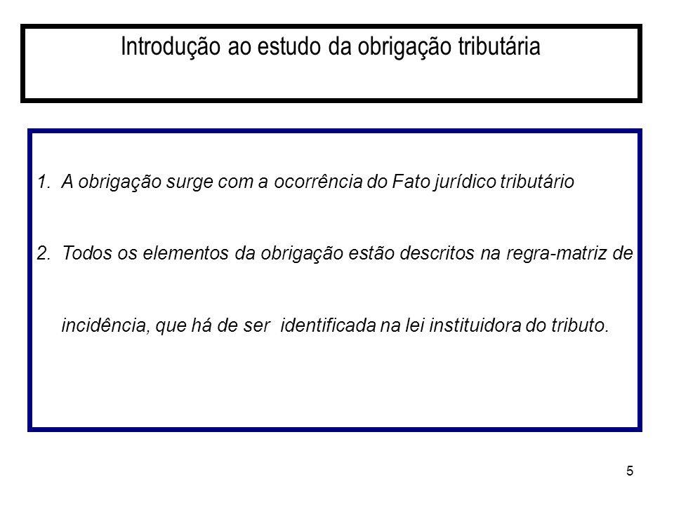 5 Introdução ao estudo da obrigação tributária 1.A obrigação surge com a ocorrência do Fato jurídico tributário 2.Todos os elementos da obrigação estã