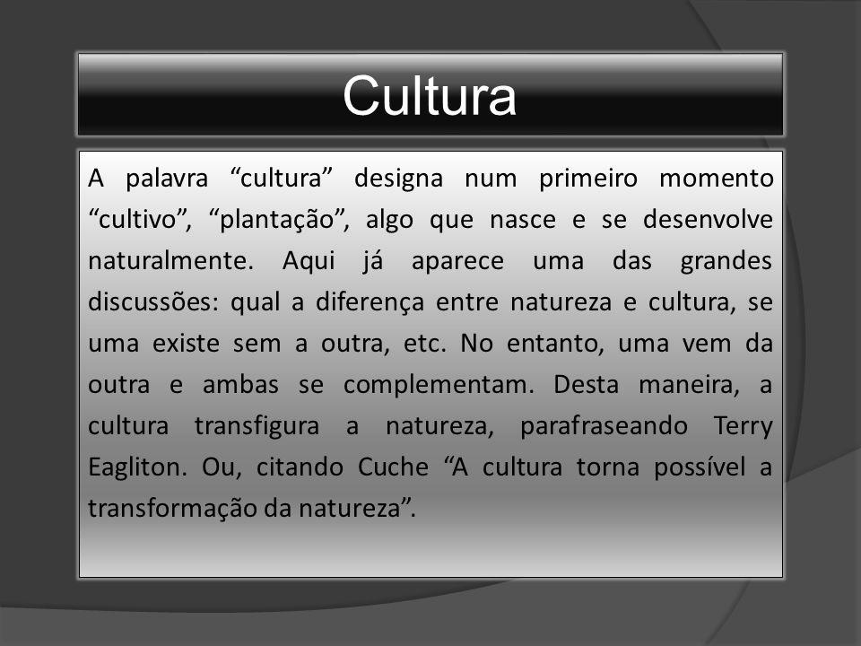 Cultura A palavra cultura designa num primeiro momento cultivo , plantação , algo que nasce e se desenvolve naturalmente.