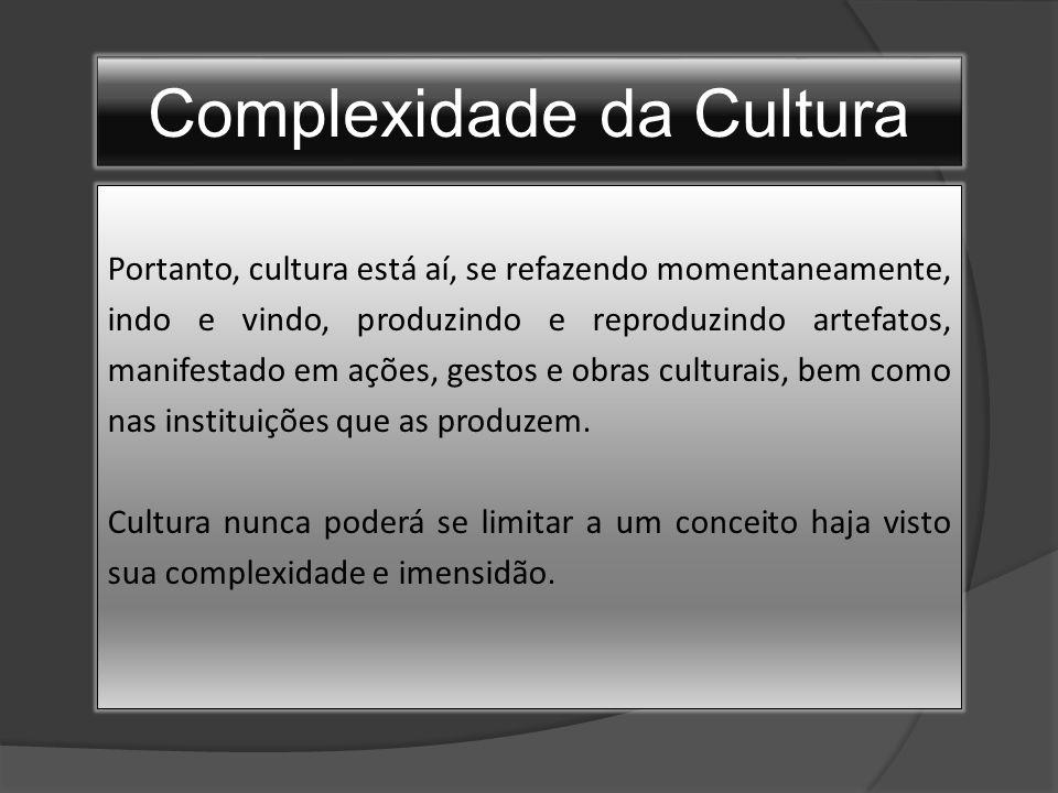 Complexidade da Cultura Portanto, cultura está aí, se refazendo momentaneamente, indo e vindo, produzindo e reproduzindo artefatos, manifestado em ações, gestos e obras culturais, bem como nas instituições que as produzem.