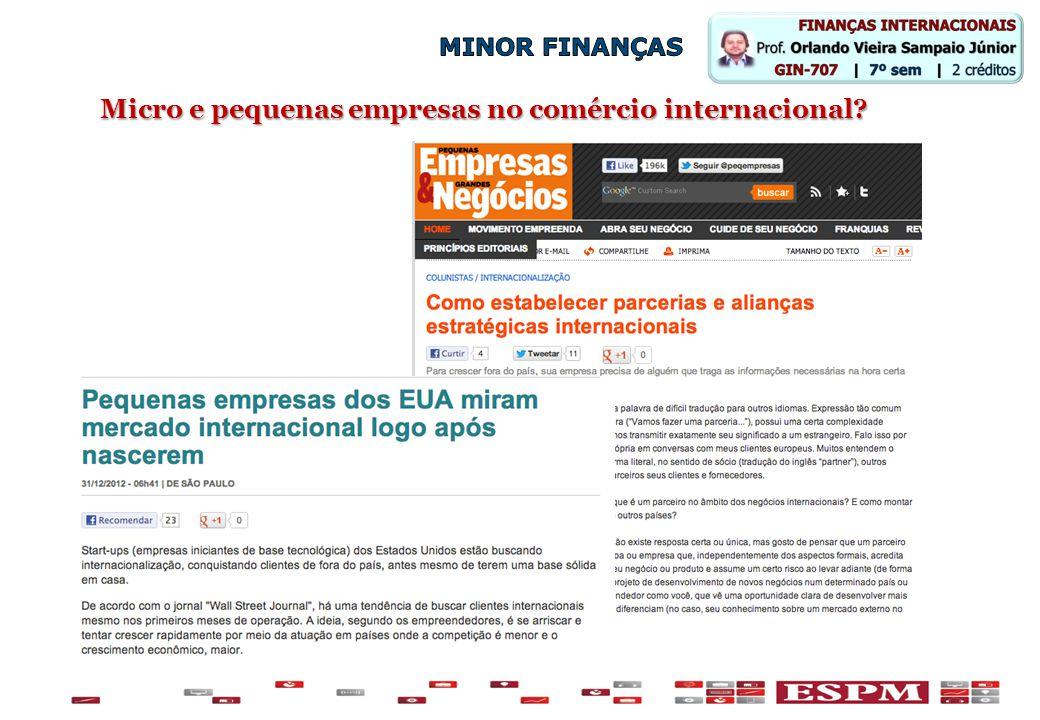 Micro e pequenas empresas no comércio internacional?