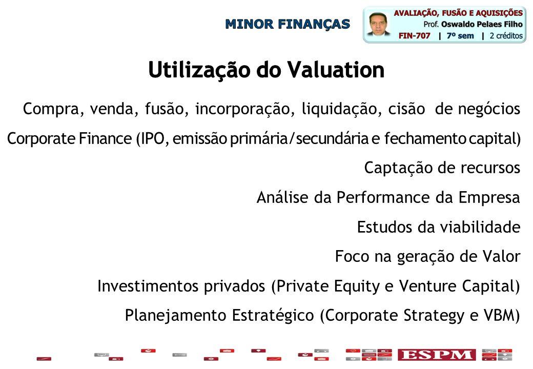 Compra, venda, fusão, incorporação, liquidação, cisão de negócios Corporate Finance (IPO, emissão primária/secundária e fechamento capital) Captação d