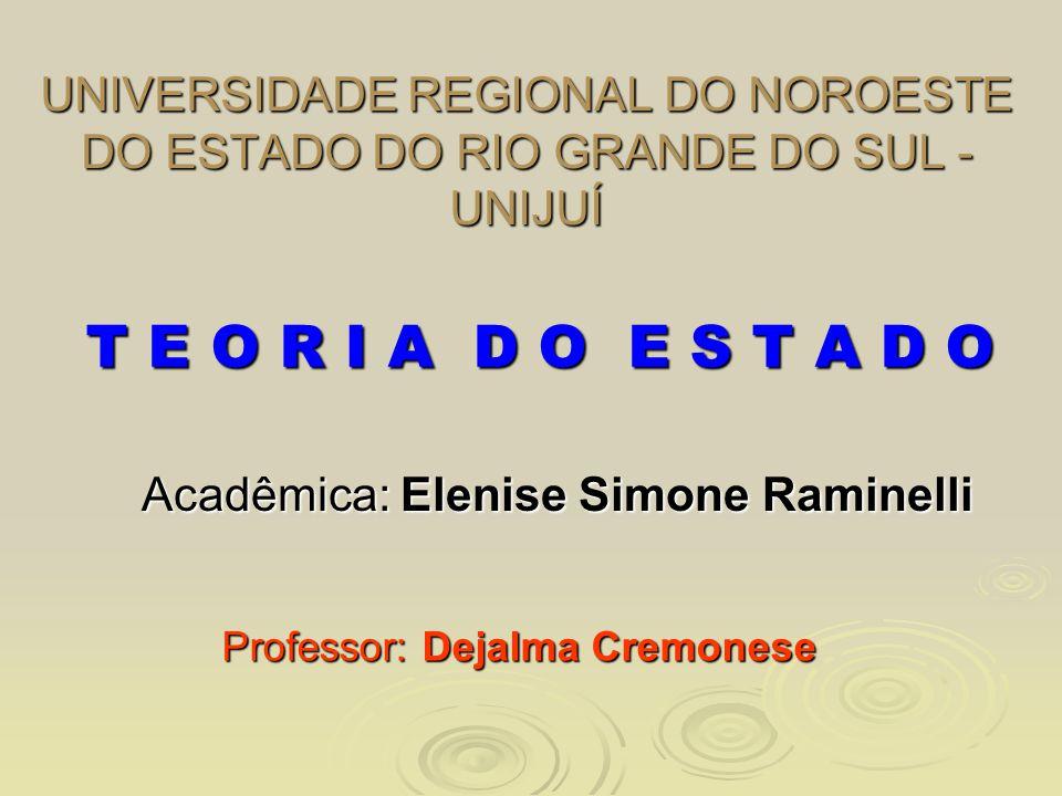 UNIVERSIDADE REGIONAL DO NOROESTE DO ESTADO DO RIO GRANDE DO SUL - UNIJUÍ Acadêmica: Elenise Simone Raminelli Professor: Dejalma Cremonese T E O R I A