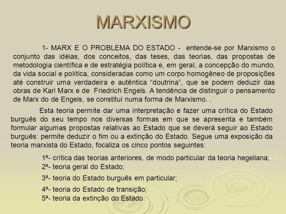 MARXISMO 1- MARX E O PROBLEMA DO ESTADO - entende-se por Marxismo o conjunto das idéias, dos conceitos, das teses, das teorias, das propostas de metod
