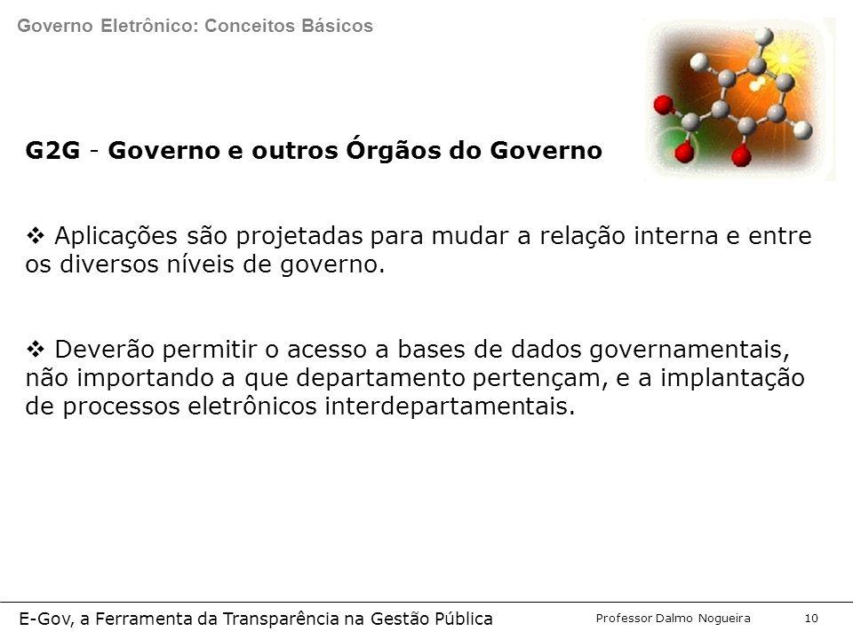 Programa de Desenvolvimento Gerencial Professor Dalmo Nogueira E-Gov, a Ferramenta da Transparência na Gestão Pública 10 G2G - Governo e outros Órgãos do Governo  Aplicações são projetadas para mudar a relação interna e entre os diversos níveis de governo.