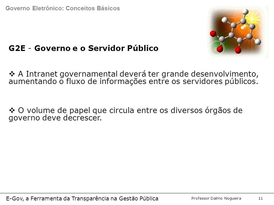 Programa de Desenvolvimento Gerencial Professor Dalmo Nogueira E-Gov, a Ferramenta da Transparência na Gestão Pública 11 G2E - Governo e o Servidor Público  A Intranet governamental deverá ter grande desenvolvimento, aumentando o fluxo de informações entre os servidores públicos.