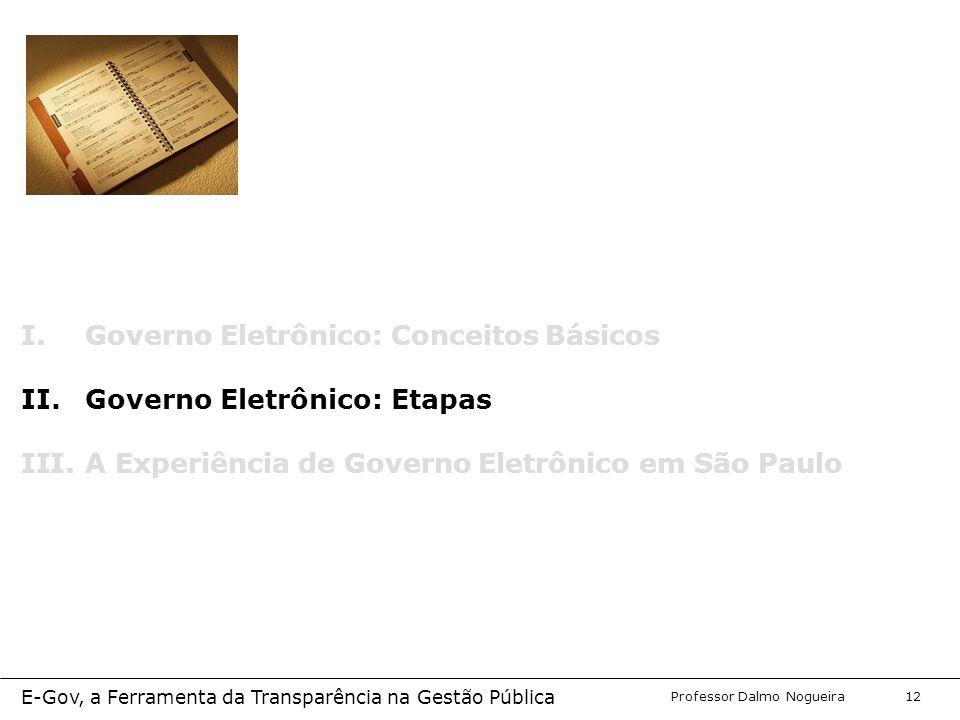 Programa de Desenvolvimento Gerencial Professor Dalmo Nogueira E-Gov, a Ferramenta da Transparência na Gestão Pública 12 I.Governo Eletrônico: Conceitos Básicos II.Governo Eletrônico: Etapas III.A Experiência de Governo Eletrônico em São Paulo