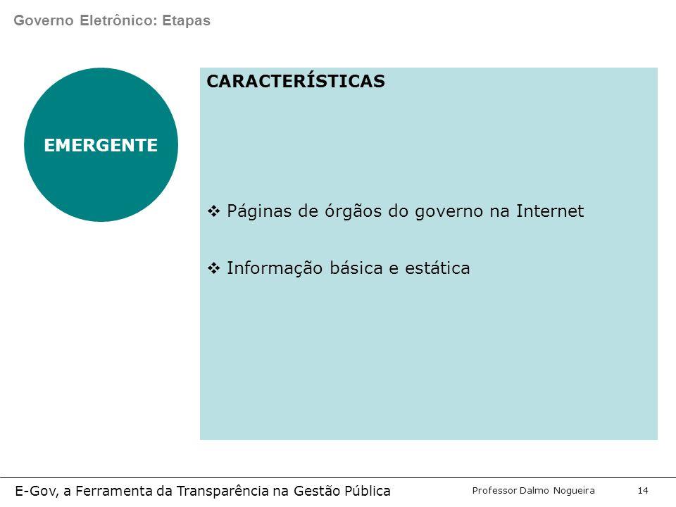 Programa de Desenvolvimento Gerencial Professor Dalmo Nogueira E-Gov, a Ferramenta da Transparência na Gestão Pública 14 Governo Eletrônico: Etapas EMERGENTE CARACTERÍSTICAS  Páginas de órgãos do governo na Internet  Informação básica e estática