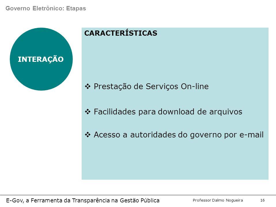 Programa de Desenvolvimento Gerencial Professor Dalmo Nogueira E-Gov, a Ferramenta da Transparência na Gestão Pública 16 Governo Eletrônico: Etapas INTERAÇÃO CARACTERÍSTICAS  Prestação de Serviços On-line  Facilidades para download de arquivos  Acesso a autoridades do governo por e-mail