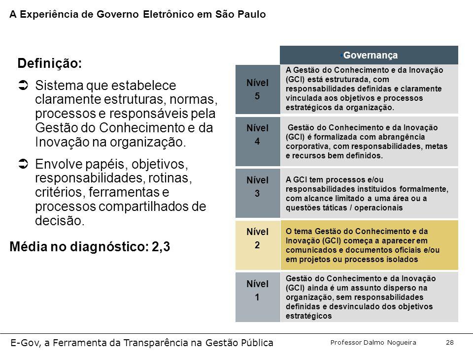 Programa de Desenvolvimento Gerencial Professor Dalmo Nogueira E-Gov, a Ferramenta da Transparência na Gestão Pública 28 Nível 5 A Gestão do Conhecimento e da Inovação (GCI) está estruturada, com responsabilidades definidas e claramente vinculada aos objetivos e processos estratégicos da organização.