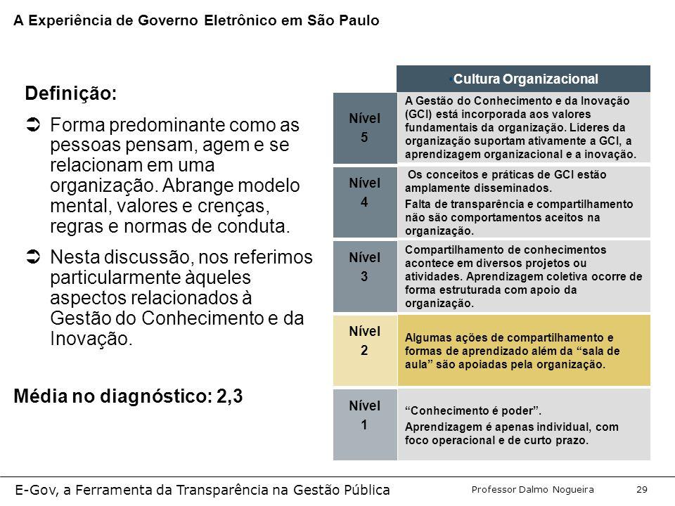 Programa de Desenvolvimento Gerencial Professor Dalmo Nogueira E-Gov, a Ferramenta da Transparência na Gestão Pública 29 Nível 5 A Gestão do Conhecimento e da Inovação (GCI) está incorporada aos valores fundamentais da organização.
