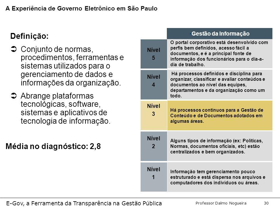 Programa de Desenvolvimento Gerencial Professor Dalmo Nogueira E-Gov, a Ferramenta da Transparência na Gestão Pública 30 Nível 5 O portal corporativo está desenvolvido com perfis bem definidos, acesso fácil a documentos, e é a principal fonte de informação dos funcionários para o dia-a- dia de trabalho.