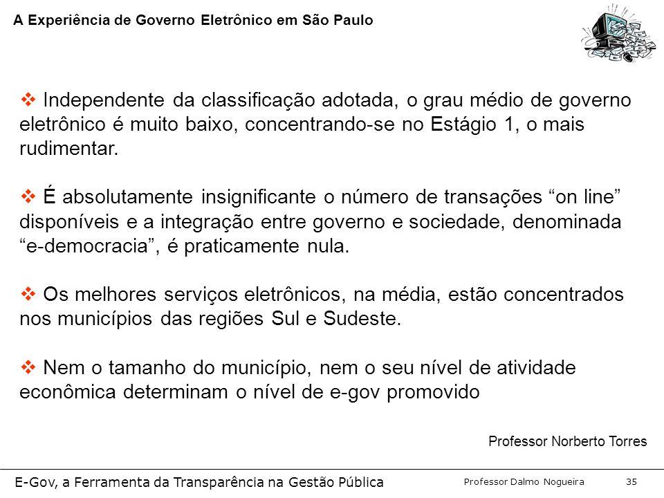 Programa de Desenvolvimento Gerencial Professor Dalmo Nogueira E-Gov, a Ferramenta da Transparência na Gestão Pública 35 A Experiência de Governo Eletrônico em São Paulo  Independente da classificação adotada, o grau médio de governo eletrônico é muito baixo, concentrando-se no Estágio 1, o mais rudimentar.