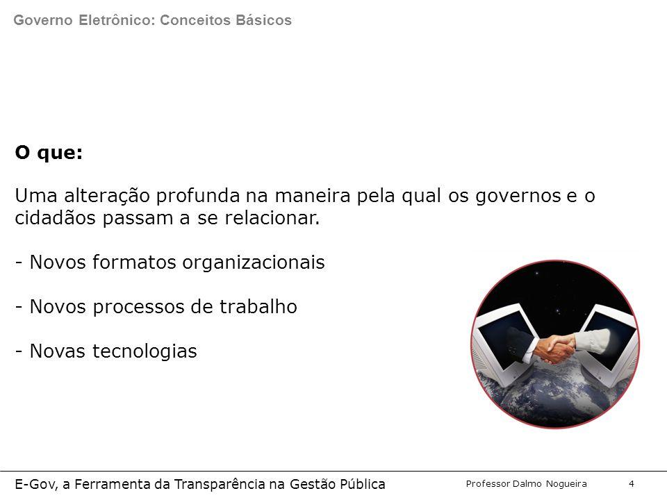 Programa de Desenvolvimento Gerencial Professor Dalmo Nogueira E-Gov, a Ferramenta da Transparência na Gestão Pública 4 O que: Uma alteração profunda na maneira pela qual os governos e o cidadãos passam a se relacionar.