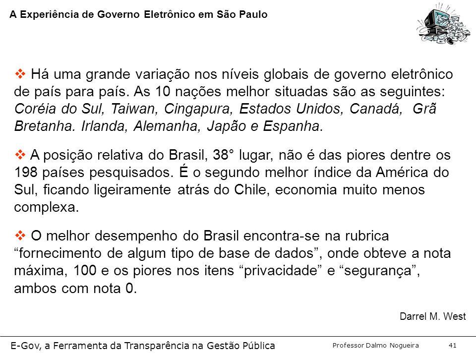 Programa de Desenvolvimento Gerencial Professor Dalmo Nogueira E-Gov, a Ferramenta da Transparência na Gestão Pública 41 A Experiência de Governo Eletrônico em São Paulo  Há uma grande variação nos níveis globais de governo eletrônico de país para país.