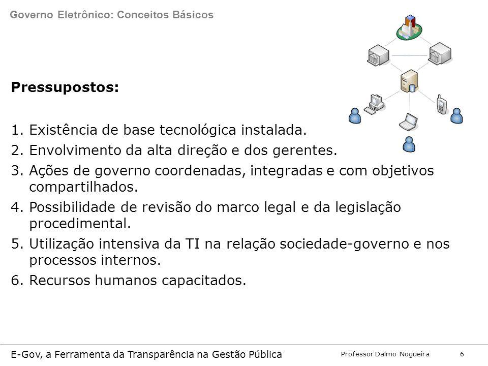 Programa de Desenvolvimento Gerencial Professor Dalmo Nogueira E-Gov, a Ferramenta da Transparência na Gestão Pública 6 Pressupostos: 1.Existência de base tecnológica instalada.