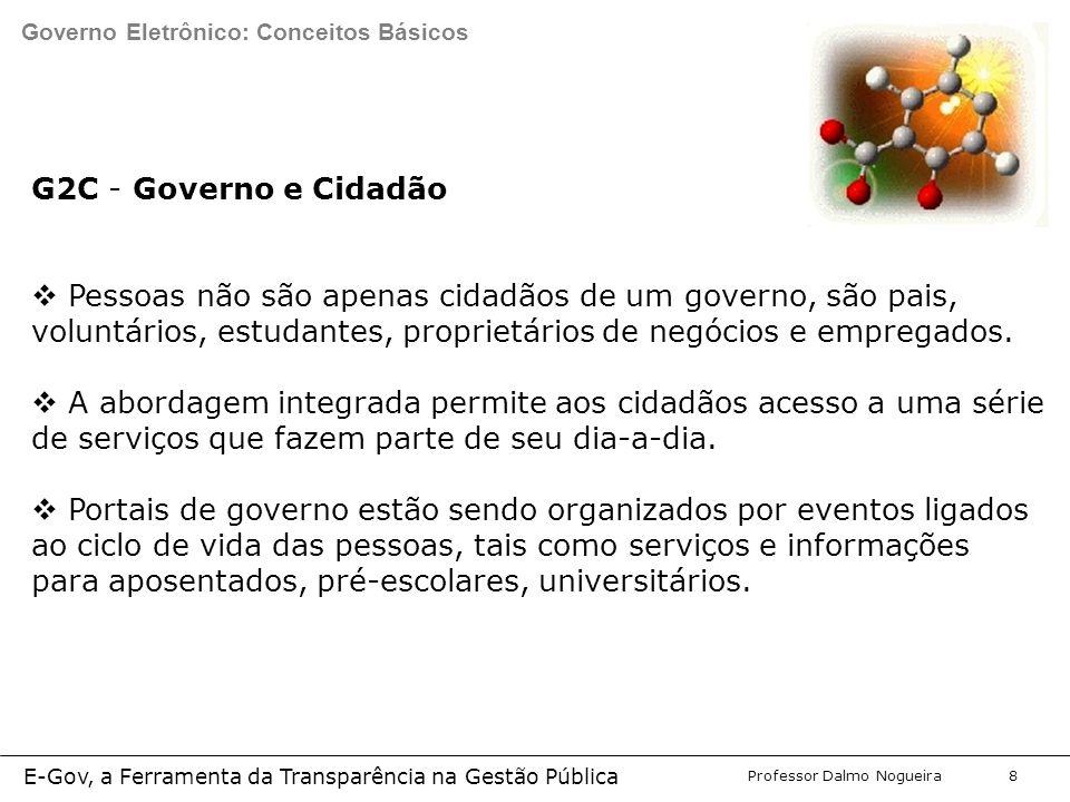 Programa de Desenvolvimento Gerencial Professor Dalmo Nogueira E-Gov, a Ferramenta da Transparência na Gestão Pública 8 G2C - Governo e Cidadão  Pessoas não são apenas cidadãos de um governo, são pais, voluntários, estudantes, proprietários de negócios e empregados.