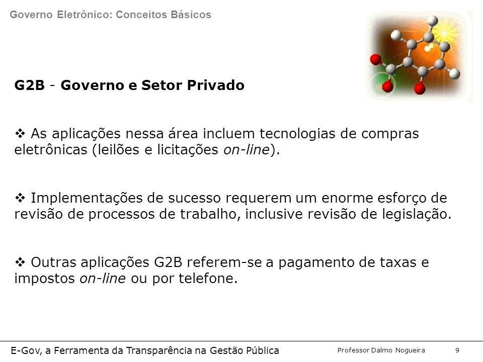 Programa de Desenvolvimento Gerencial Professor Dalmo Nogueira E-Gov, a Ferramenta da Transparência na Gestão Pública 9 G2B - Governo e Setor Privado  As aplicações nessa área incluem tecnologias de compras eletrônicas (leilões e licitações on-line).