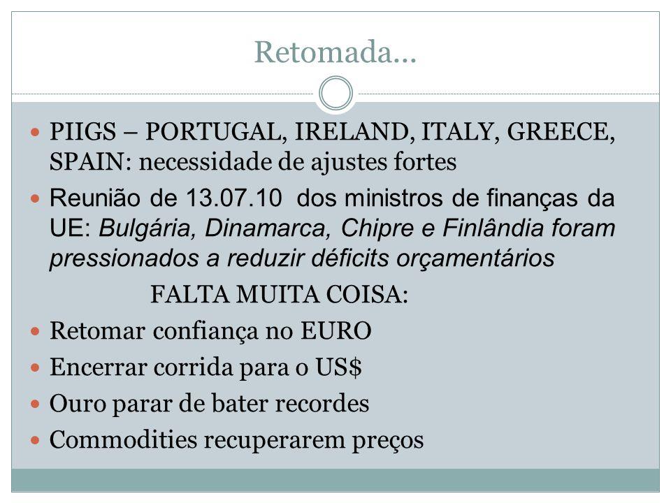 Retomada...  PIIGS – PORTUGAL, IRELAND, ITALY, GREECE, SPAIN: necessidade de ajustes fortes  Reunião de 13.07.10 dos ministros de finanças da UE: Bu