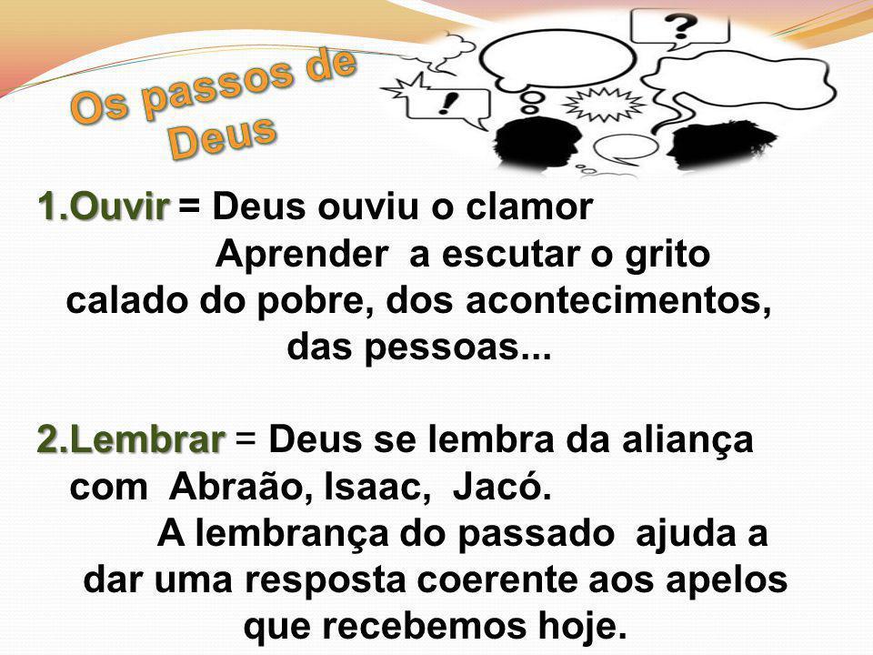 1.Ouvir 1.Ouvir = Deus ouviu o clamor Aprender a escutar o grito calado do pobre, dos acontecimentos, das pessoas...
