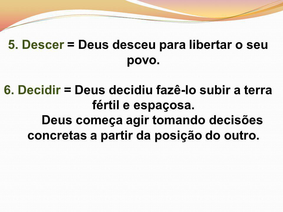 5.Descer = Deus desceu para libertar o seu povo. 6.