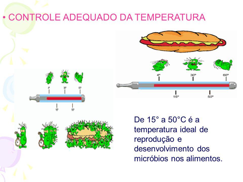 • CONTROLE ADEQUADO DA TEMPERATURA De 15° a 50°C é a temperatura ideal de reprodução e desenvolvimento dos micróbios nos alimentos.